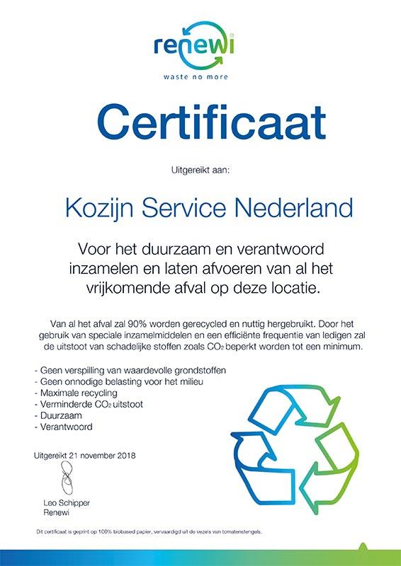 Certificaat 2019 Kozijn Service Nederland-Recycling